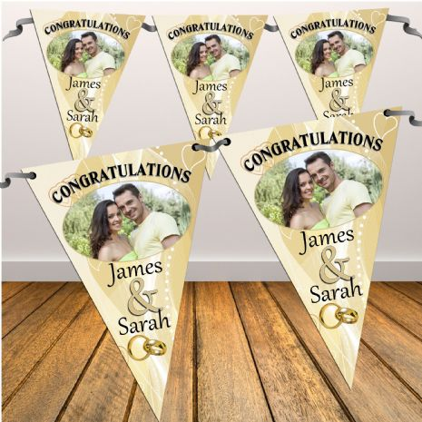 Personalised Gold Congratulations Wedding Flag PHOTO Banner - N12